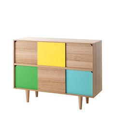 Whether you use this in your living room or entryway, there's enough smart storage in this color block cabinet for any purpose.