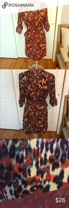 Bar III leopard print dress Worn once. Mint condition. Upclose photo included to see the colors better Bar III Dresses Midi