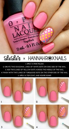 Mani Monday: Pink and Candy Dot Accent Nail Mani Tutorial at LuLus.com!