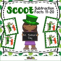 This St. Patrick's Day Math Scoot is a fun and exciting math game with St.Patrick's Day images on the cards. It gets all of your students moving. It can be used as a preview to see what your students already know, as a review or as an assessment after teaching subtraction facts to 11-20. This is a fun game to play for St.Patrick's Day.