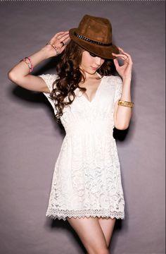 V Neck Short Sleeve Slim White Lace Dress