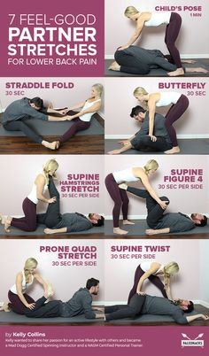 7 Feel-Good Partner Stretches to Release Lower Back Pain yoga fitnees – Top healthy fitness Fitness Workouts, Yoga Fitness, Fitness Tips, Fitness Motivation, Health Fitness, Partner Stretches, Partner Massage, It Band Stretches, Partner Yoga Poses
