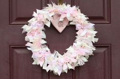 vintage shabby chic pink sugar and spice baby shower bow and ribbon door wreath