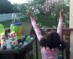 A child's happiness with bubbles!