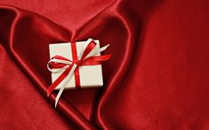 Download wallpapers Valentines Day, red silk, heart, gift, romantic holidays, love concepts