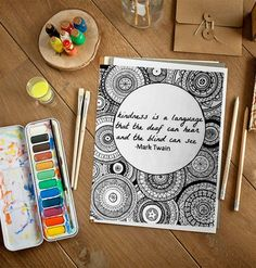 Quote Adult Coloring Page. Kindness by Mark Twain by EssenceofInk Mandala Art Lesson, Mandala Drawing, Mandala Book, Mandala Artwork, Zentangle Drawings, Zentangles, African Art Paintings, Modern Art Paintings, Art Drawings Sketches Simple