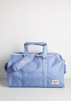 Pack and Forth Weekend Bag. Trips to and from your lakeside lodge are a breeze thanks to this sky-blue tote from Herschel Supply Co.! #blue #modcloth