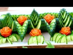 Cucumber and Carrot Rose Flower | Fruit & Vegetable Carving Decoration | Party Garnishing - YouTube