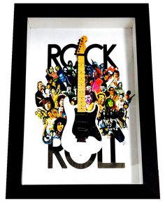 Quadro Rock in Roll com mini guitarra e outros personalizados por você. Decore o seu ambiente com o Rock and Roll dos quadros da Miniluthieria!