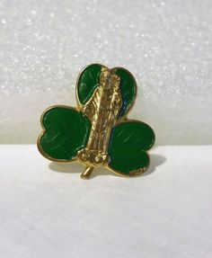 Vintage Saint Patrick Catholic Pen Brooch, Clover, Made In Italy, Unique, Light
