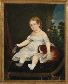 American School, 19th Century  Portrait of a Young Girl with Her Spaniel.