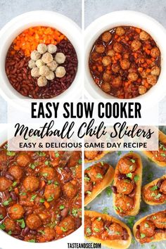 Slow Cooker Meatball Chili Sliders: Easy, hearty and delicious! A fun, tasty appetizer to wow your crowd! Easy Appetizer Recipes, Yummy Appetizers, Slow Cooker Recipes, Crockpot Recipes, Football Food, Game Day Food, Pinterest Recipes, Chili, Community Cookbook