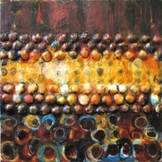 Interplay by Nancy Natale, encaustic with fiber, oilstick and oil paint on birch, 24x24