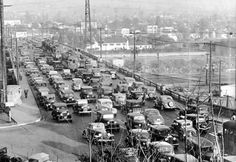 Traffic jam on the Broadway Bridge over the Los Angeles River (1937), via the USC Digital Library Los Angeles Examiner Collection