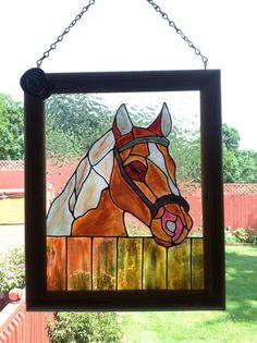 Horse Framed Art Horse Stained Glass by CreativeGlassByBecky, $44.95