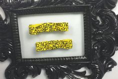 Hey, I found this really awesome Etsy listing at https://www.etsy.com/listing/200889121/yellow-and-black-hair-clips-pink-black