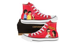 Hand Painted Converse. Bobs Burgers. Bob, Linda, Tina, Gene, and Louise. Fox. on Etsy, $107.00