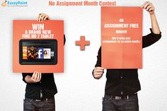 Want to win a FIRE HD TABLET and an ASSIGNMENT FREE MONTH? Follow this link to participate in the ‪#‎NoAssignmentMonth‬ Contest and tell us (Wittily) why do you hate your assignments. http://www.essaypoint.co.uk/no-Assignment-month/
