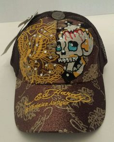 ff35f31f175 Ed Hardy Hat Christian Audigier New York City Brown Vintage Tattoo Wear NWT  in Clothing