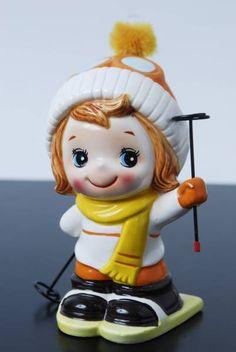 昭和レトロ 陶器製 可愛い女の子 貯金箱 スキーガール 水森亜土_画像1