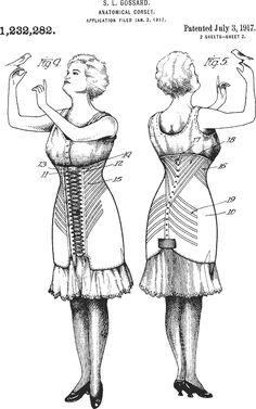 CORSET Patents-  1917 anatomical corset.