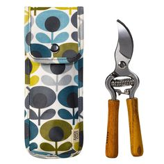 Orla Kiely Multi-Flower Oval Print Secateurs and Pouch - Blue/Green