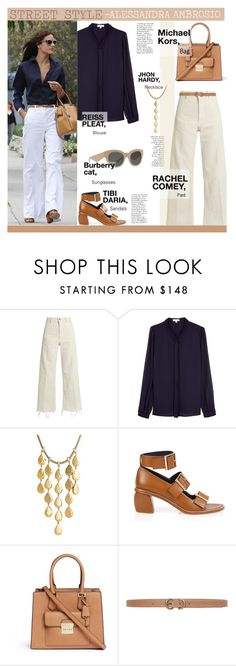 """STREET STYLE- ALESSANDRA AMBROSIO"" by licethfashion ❤ liked on Polyvore featuring Rachel Comey, Reiss, John Hardy, TIBI, Michael Kors, Max Studio, Burberry, fashionset, polyvoreditorial and licethfashion"