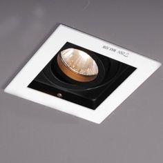 Inbouwspot Carree wit (zelfde als plafond) met zwarte binnenkant - Lampenlicht.nl