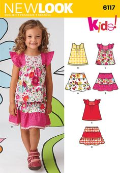 Simplicity : 6117   Spring 2013 Child's Separates  Child's top with or without ruffled sleeves with trim variations and pull on tiered skirt. New Look sewing pattern. Size A(3,4,5,6,7,8)