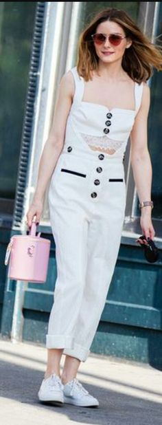 Who made Olivia Palermo's pink sunglasses, white sneakers, and cut out jumpsuit? Milan Fashion Weeks, Paris Fashion, New York Fashion, New York Socialites, Olivia Palermo Style, Model Street Style, Her Style, Fashion Beauty, Women's Fashion