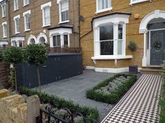 classic 50mm black and white victorian mosaic tile path slate paving knot topiary planting bespoke bin and bike store in charcoal grey colour