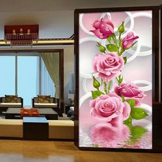 Needlework 5D Diy Diamond Painting Cross Stitch Pink Rose Diamond Embroidery Flower Vertical Print Rubik's Cube Drill