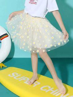 Girls Daisy Floral Mesh Skirt – Kidenhouse Leopard Print Skirt, Floral Print Skirt, Trendy Girl, Mesh Skirt, Cute Girl Outfits, Trends, Jeans Dress, Girls Jeans, Printed Skirts