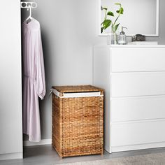IKEA - BRANÄS, Laundry basket with lining, rattan, The plastic feet protect the laundry basket from moisture. Each laundry basket is woven by hand and is therefore unique. Holds up to 9 kg of laundry. Laundry In Bathroom, Bathroom Storage, Bathroom Cabinets, Ikea Molger, Laundry Basket With Lid, Laundry Baskets, Washing Baskets, Wicker Laundry Hamper, Interior Ikea