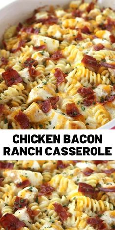 This Easy Chicken Bacon Ranch Casserole is perfect for a quick and simple dinner. We have pasta chicken easy Alfredo with ranch dressing bacon and of course cheese. Pasta Dishes, Food Dishes, Main Dishes, Chicken Bacon Ranch Casserole, Cooking Recipes, Healthy Recipes, Comfort Food, Easy Chicken Recipes, I Love Food