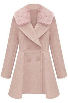 Romwe Double-breasted Detachable Faux Fur Collar Pink Coat