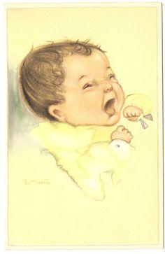 Künstlerkarte sign. J. Ballin um 1950, Babyköpfe Motiv 4, Baby | eBay