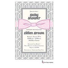 Modern pink and gray baby girl shower invitation with polka dot pink bow.