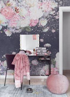 With its flower collage print and shimmer effect aesthetic, our Sparkle Floral wallpaper is ideal for teenager's rooms. Creative, elegant and. Design Your Own Wallpaper, Wallpaper Manufacturers, Pink Lila, Flower Collage, Latest Wallpapers, Wall Murals, Backdrops, Sparkle, Colours