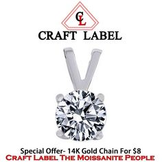 """1/3 Ct Real 14K Gold Solitaire Pendant Without Chain """"Mother\'s Day Gift"""". Starting at $1"""
