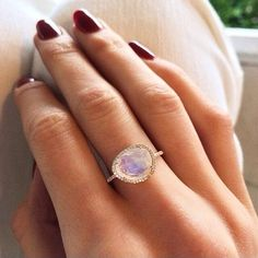 14kt gold and diamond single band moonstone ring – Luna Skye   BEAUTIFUL!