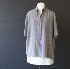 oversized black and white silk stripe shirt L by cheapopulance, $30.00