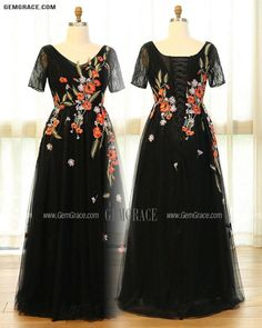 10% off now Custom Black Tulle Formal Dress Vneck with Colorful Flowers Embroidery High Quality at GemGrace. Click to learn our pro custom-made service for wedding dress, formal dress. View Plus Size Formal Dresses for more ideas. Stable shipping world-wide. Plus Size Formal Dresses, Dress Formal, Mother Of The Bride Looks, Affordable Dresses, Formal Prom, Custom Dresses, Colorful Flowers, Dresses Online, Fashion Dresses