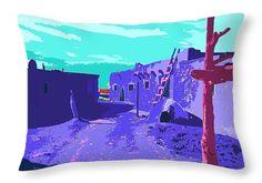 """Taos Pueblo Vibrant Light Throw Pillow 20"""" x 14"""""""
