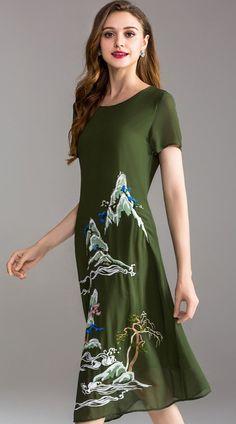 358f9b25fe Embroidery O-Neck Short Sleeve Print Shift Dress