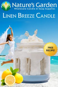 Free Linen Breeze Candle Recipe by Natures Garden Soap Supplies, Homemade Candles, How To Make Homemade, Fragrance Oil, Candle Making, Free Food, Breeze, Candle Holders, Sweet