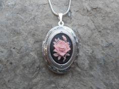 Cameo Locket Pink Rose on Black Background High by THEPROUDBUFFALO, $14.95