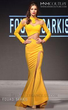 Brand/Designer: Mnm Couture Occasion: Formal Dress Silhouette: Mermaid Shoulder: Long Sleeves Neckline: High Neck Sweetheart Skirt: Mermaid Closure/Back: Back Zipper Pageant Dresses, Bridal Dresses, Bridal Elegance, Nice Dresses, Formal Dresses, Amazing Dresses, Illusion Dress, Mellow Yellow, Yellow Sun