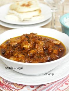 Methi Murgh Chicken Curry...YUMMM.. the restaurant that we use to get this from shut down, best Indian chicken dish :)