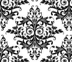 Calvarium Damask - black on white fabric by thecalvarium on Spoonflower - custom fabric